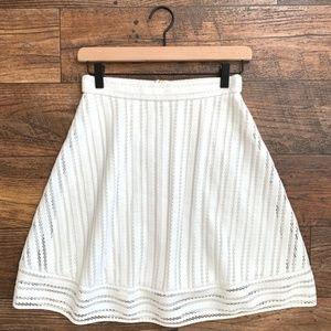 J.Crew White Striped Eyelet A-Line Skirt Size 00